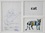 Framed Original Pen And Ink Eric Carle Drawingauth.of The Very Hungry Caterpillar