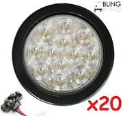 20 Led 4 Round Back-up Reverse Light Kits White With Grommet Plug Clear Lens