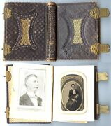 Antique Photo Album With 23 Tintypes Many Tinted