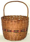 Woven Basket, Northeast, Ash, Carved Handle, 12.5t, Dmge, 19th Century