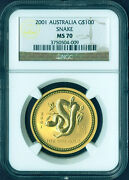 2001 Australia Lunar Year Of Snake 1 Oz Pure Gold G100 Coin Ngc Ms70