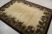 Lodge Cabin Rustic Forest Pinecone Area Rug Free Shipping