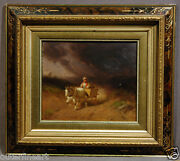 George Washington Nicholson American Oil Painting Of Man On Horse Carriage