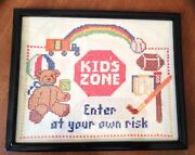 Vintage Linen Cross Stitch Kid Zone Enter At Your Own Risk 8 X 10 Adorable