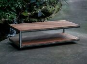 Custom Made Reclaimed Wood And Steel Contemporary Floating Coffee Table