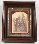 Civil War Outdoor Vintage Photo Of 4 Soldiers In Uniform W/ Weapons-in Frame