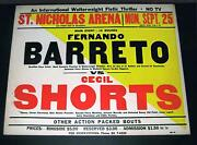 Rare 1961 St Nicholas Arena Barreto Shorts Sallee Wallace Fraser Boxing Poster