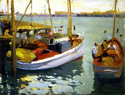 Fishing Boats, L. A. Harbor  By Franz Bischoff  Giclee Canvas Print Repro