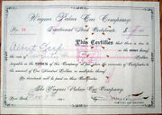 1890 Fractional Railroad Stock Certificate Wagner Palace Car-issued Albert Keep