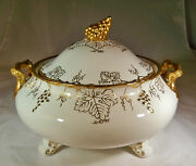 Royal Crown Derby Vine Gold Grapes And White 9 Covered Vegetable Casserole Bowl