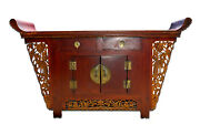 Original Large Antique Chinese Hardwood Red Lacquered Highly Carved Coffer Table