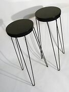 Pair Mid Century Modern Display Plant Stand Hairpin Leg Granite Top 1950and039s