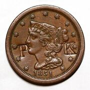 1851 Braided Hair Half Cent Coin 1/2c Counter Stamp Pk