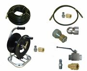 Sewer Jetter Cleaner Kit - Ball Valve 100and039 X 3/8 Hose Reel And Nozzles