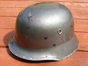 Post Wwii Vintage German M35 Type Fireman Helmet With Liner And Straps Militaria