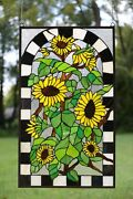 20.75 X 35 Large Handcrafted Stained Glass Window Panel Sunflower Garden