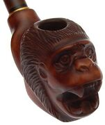 Wooden Smoking Pipe, First Class Pipes Difficult Carving Luxury Monkey 9 Mm