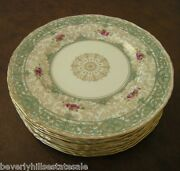 Exquisite Set Of Ten Royal Worcester For Barker Bros Hand Painted Dinner Plates