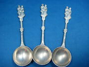 Lot 3 Antique German Solid Embossed Pewter Reinzinn Wedding Spoons Collectible