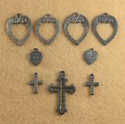 Lot 9 Cracker Jack Charm Prize Heart Cross Open Valentineand039s Metal