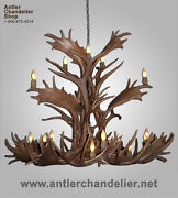 3 Level Faux Antler Elk/fallow/mule Deer Chandelier Lamps Crl-25