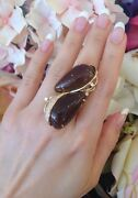 Large Topaz Pearshape Cabochon Ring With Diamonds In 18k Yellow Gold - Hm1443sr