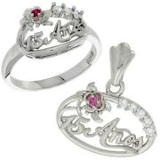 Ruby Flower Charm Cz Sweet 15 Birthday Ring Quince Anos Sterling Silver Pendant
