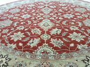 8 X 8 Round Rust Agra Oriental Area Rug Wool Hand Knotted Foyer