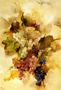 Grapes  By Franz Bischoff Giclee Canvas Print Repro