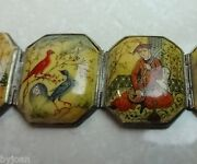 Antique Magnificent Asian Bracelet With Hand Painted Scenes