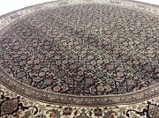8and039 X 8and039 Black Round Fine Geometric Oriental Area Rug Hand Knotted Wool Foyer