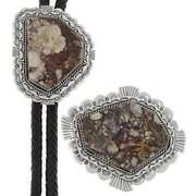 Wild Horse Magnesite Bolo Buckle Set Navajo Crafted Sterling
