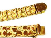14kt Solid Yellow Gold Handmade Mens Nugget Bracelet 11 Mm 36 Grams 10 Inches