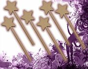 Six 6 Fairy Wands Craft Wood Mdf Girls Birthday Party Favor Novelty Toys 127