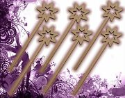 Six 6 Fairy Wands Craft Wood Mdf Girls Birthday Party Favor Novelty Toys 130