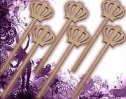 Six 6 Princess Wands Craft Wood Mdf Girls Birthday Party Favor Novelty 133