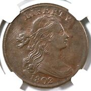 1802 S-227 R2 Ngc Au50 Draped Bust Large Cent Coin 1c