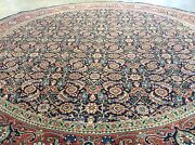 6and039 X 6and039 Round Navy Rust Fine Geometric Oriental Area Rug Hand Knotted Wool Foyer