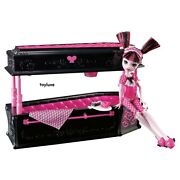 Monster High Dead Tired Draculaura Doll + Jewelry Box Coffin Bed Furniture Set