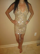 Sexy, Body Language Dress W/ Silver Sequin, Extra Small, Brand New Without Tags