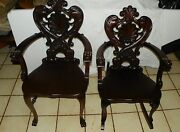 Pair Of Mahogany Carved Rocker And Armchair By Stickley And Brandt Ac140