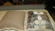 Pair Of Taupe Beige Light Brown Abstract Print Chenille Throw Pillows 20 X 20