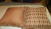 Pair Of Rust Beige Burgundy Abstract Print Chenille Throw Pillows 20 X 20