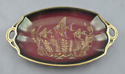Empire England Burgundy Tray Dish Painted Fish Pattern Gilded Gold Edge 754