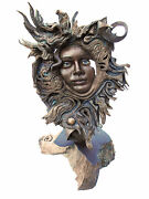 Rick Cain Woman's Face Flare In The Universe Feminine Spirit Wood Sculpture Us