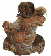 Rick Cain Eve And The Serpent Original Us Hand Carved Burled Wood Sculpture Figure