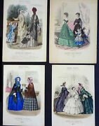4 Antique Fashion Engraved Color Plates From Modes Vraies 1851-75inv 2012