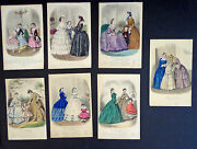 7 Antique Plates Fr. Fashion Ads From Magasin Des Demoiselles 1851-63 Inv 2016