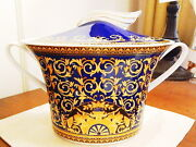 Versace China, Rosenthal Germany Medusa - Blue Covered Soup Tureen Bowl - New