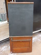 Early 20th Century Schoolhouse Slate Chalkboard Salvaged Door And Frame 65 X 30.5